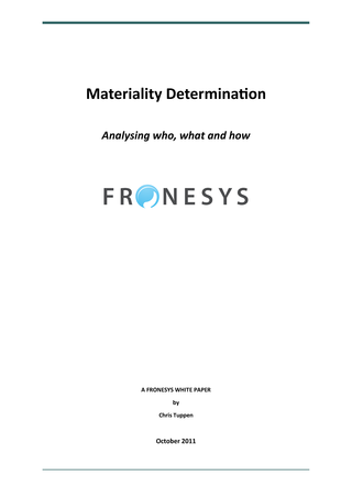 Download Determining Materiality, a free white paper from Fronesys